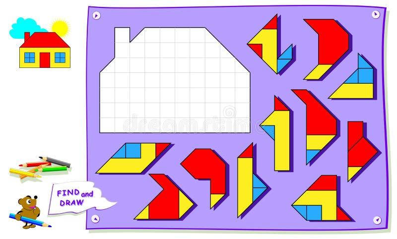 Gioco di puzzle di logica per il libro da colorare del bambino Debba trovare il posto per ogni dettaglio e dipingere i quadrati b illustrazione di stock