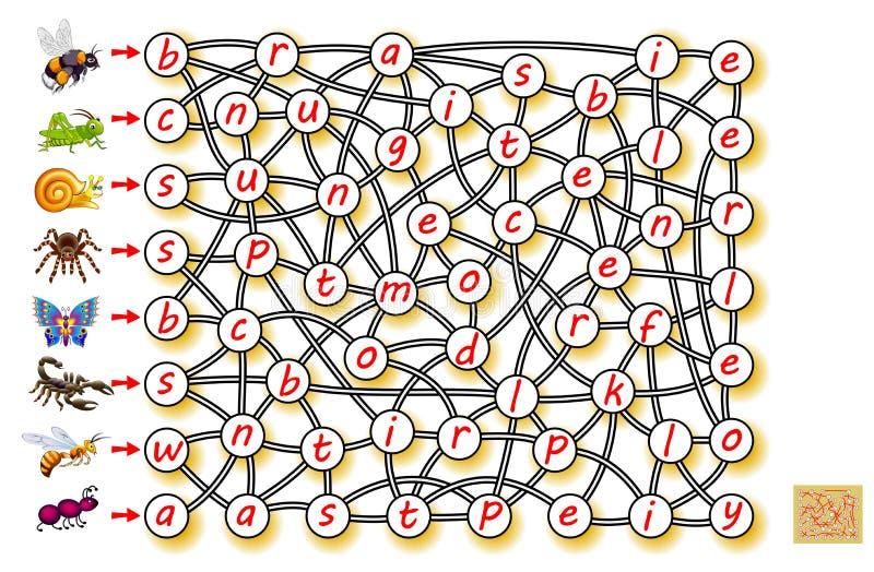 Gioco di puzzle di logica per l'inglese di studio con il labirinto Trovi la direzione da ogni insetto ed unisca le lettere in mod illustrazione vettoriale