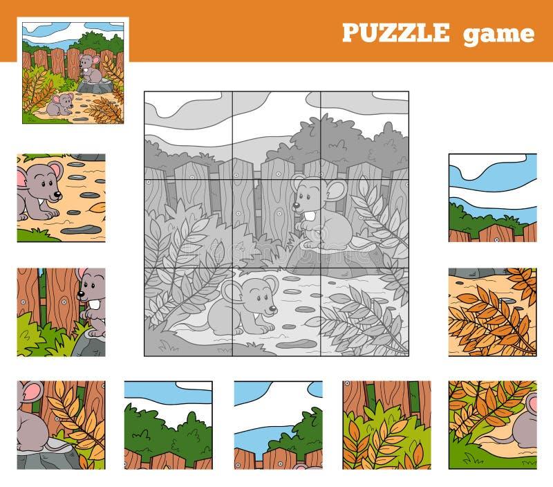 Gioco di puzzle per i bambini con gli animali (topi) illustrazione di stock
