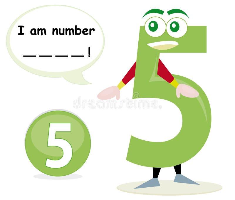 Gioco di quiz con il numero cinque illustrazione vettoriale
