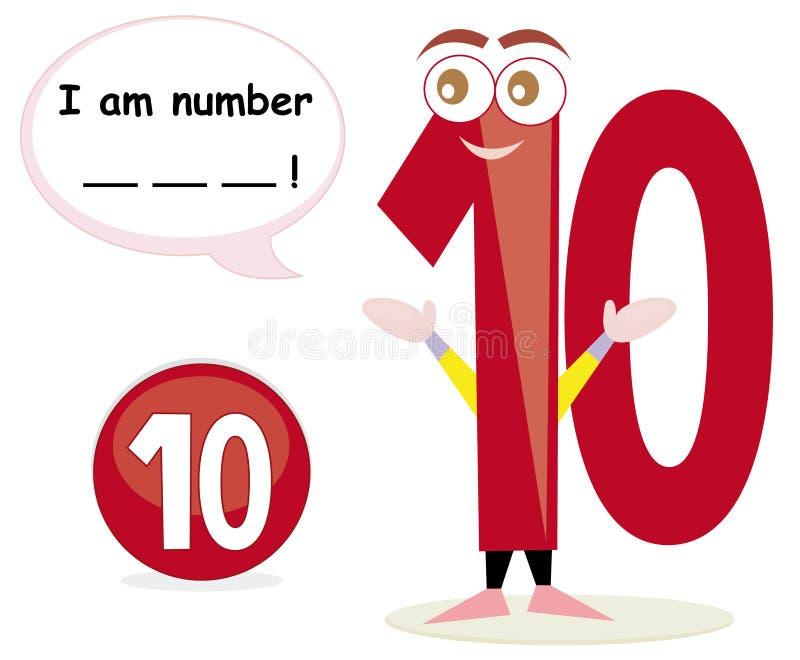 Gioco di quiz con il numero dieci illustrazione di stock