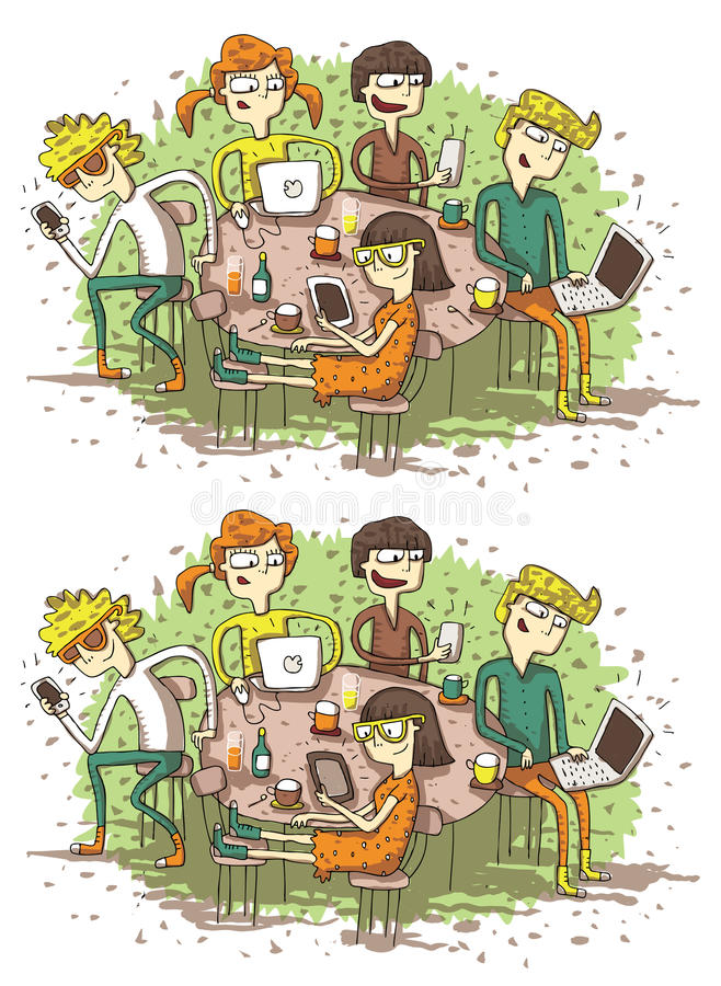 Gioco di rappresentazione di differenze degli amici di web illustrazione di stock