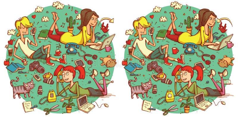 Gioco di rappresentazione di differenze del ritrovamento 20 Soluzione nello strato nascosto royalty illustrazione gratis