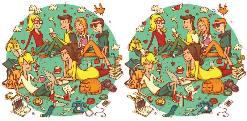Gioco di rappresentazione di differenze del ritrovamento 20 Soluzione nello strato nascosto illustrazione di stock