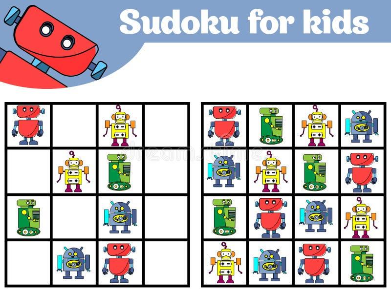 Gioco di Sudoku per i bambini con le immagini Gioco di logica per i bambini in età prescolare rebus per i bambini Illustratio edu illustrazione di stock