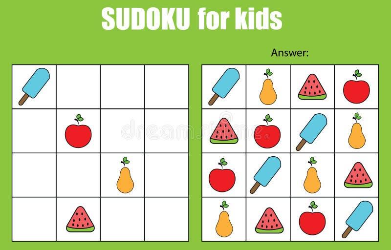 Gioco di Sudoku per i bambini Scherza la scheda di attività illustrazione vettoriale