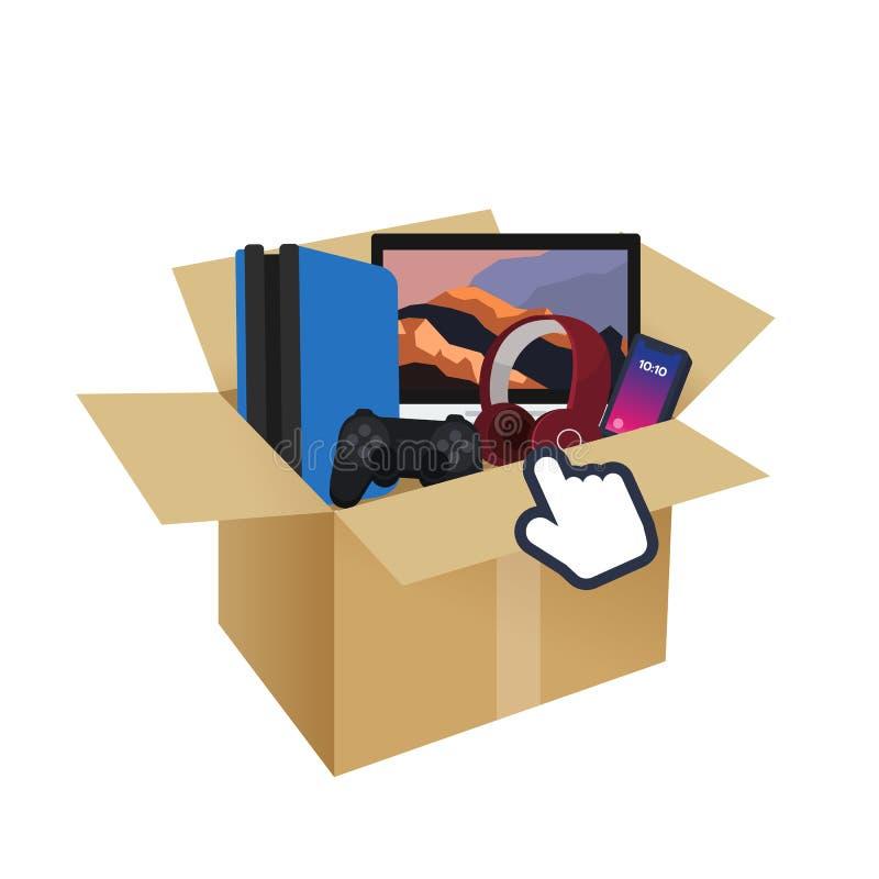 Gioco di tecnologia dell'aggeggio, smartphone, cuffia, computer in scatola royalty illustrazione gratis
