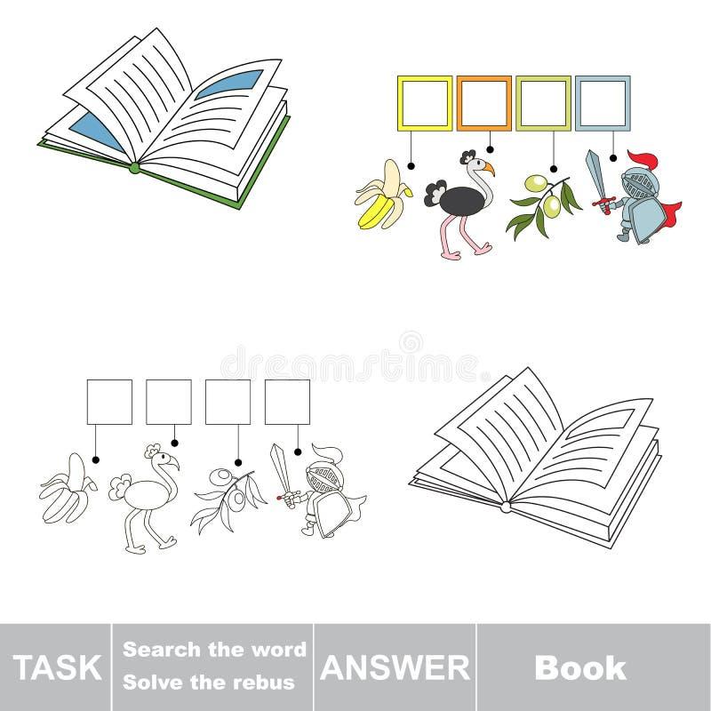 Gioco di vettore Libro di parola nascosto ritrovamento Cerchi la parola illustrazione di stock