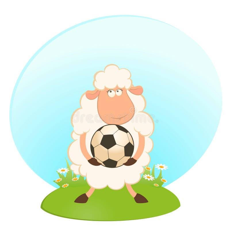 Gioco divertente delle pecore nel gioco del calcio illustrazione vettoriale