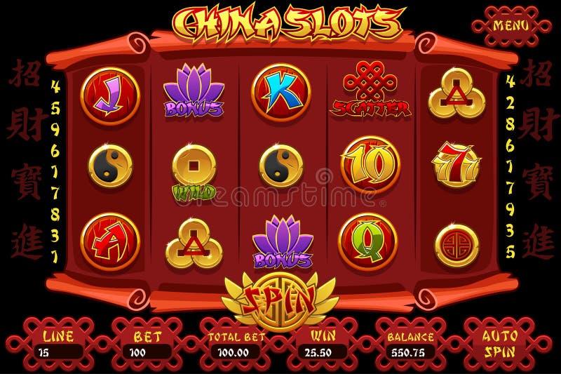 Gioco ed icone dello slot machine del casinò della Cina Slot machine cinese e bottoni dell'interfaccia completa di vettore Caratt illustrazione di stock