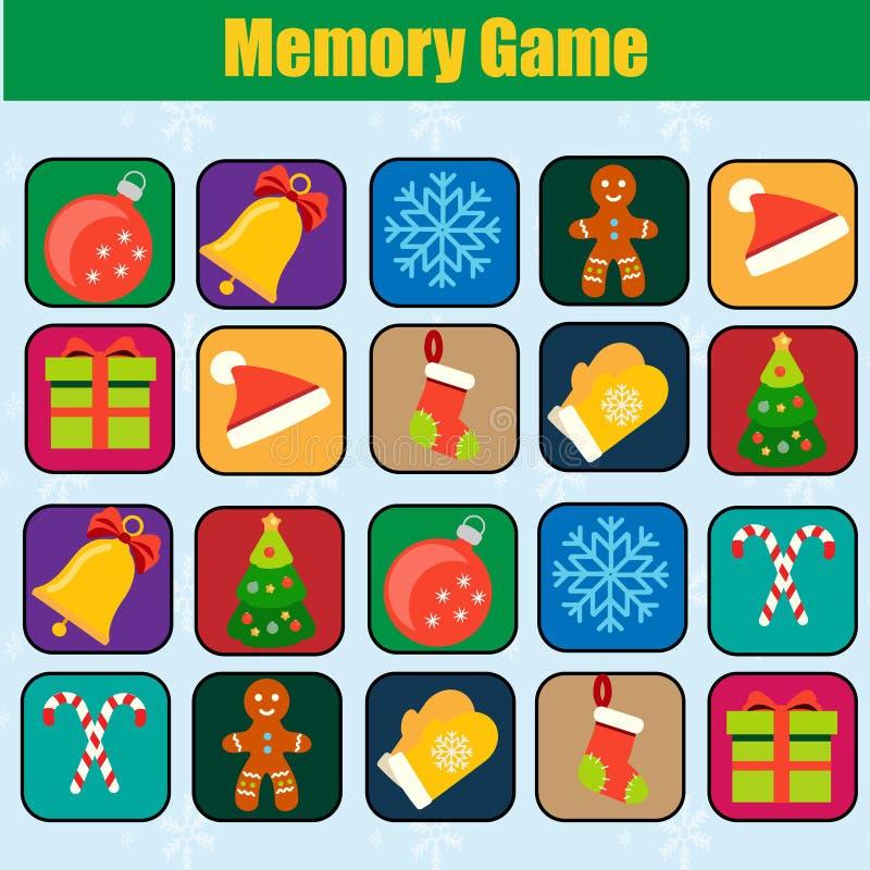 Gioco educativo dei bambini, attività dei bambini Gioco di memoria, Natale, tema di vacanze invernali del nuovo anno illustrazione vettoriale