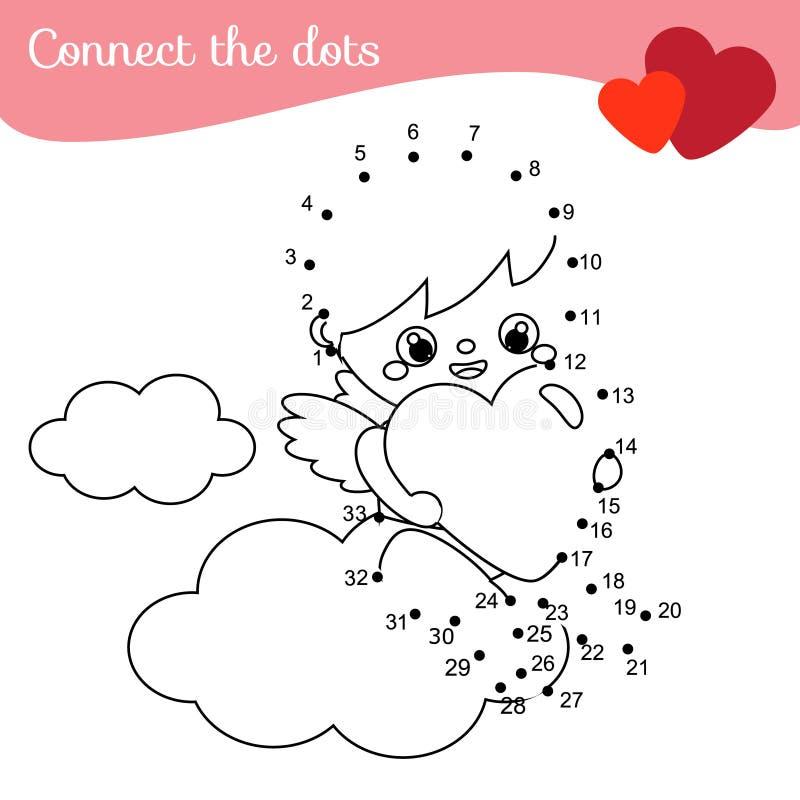 Gioco educativo dei bambini Colleghi i punti dai numeri cupido sveglio, angelo di giorno di S. Valentino del fumetto illustrazione vettoriale