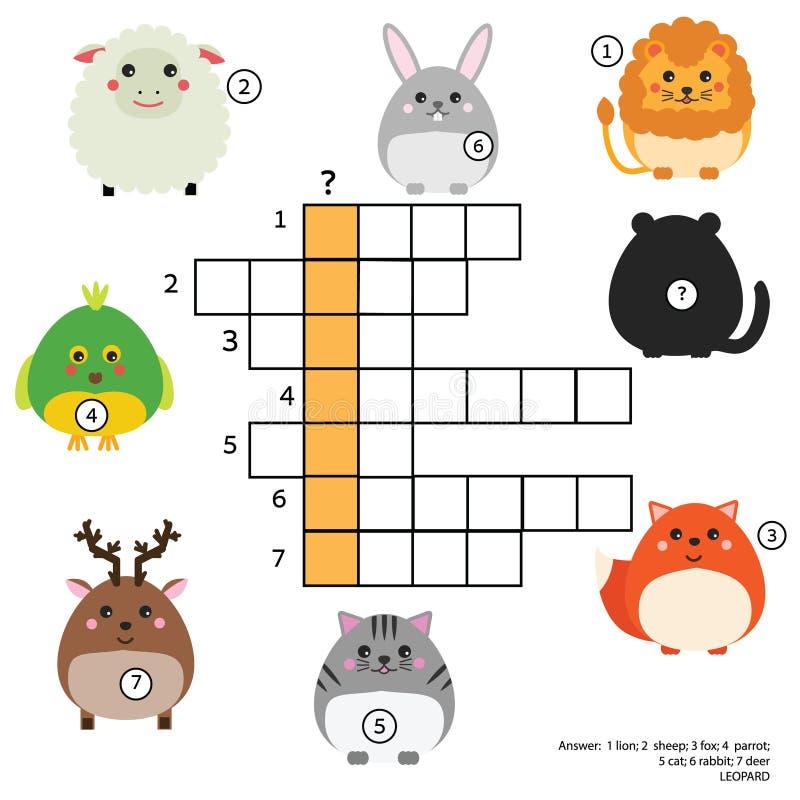 Gioco educativo dei bambini delle parole incrociate con la risposta Tema degli animali Apprendimento del vocabolario royalty illustrazione gratis