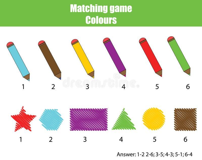 Gioco educativo dei bambini Gioco di corrispondenza, imparante i colori illustrazione di stock