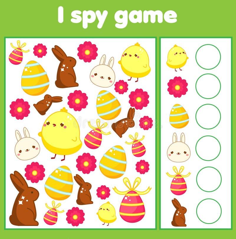 Gioco educativo dei bambini Spio lo strato per i bambini Ritrovamento e conteggio Pasqua activty per i bambini illustrazione vettoriale