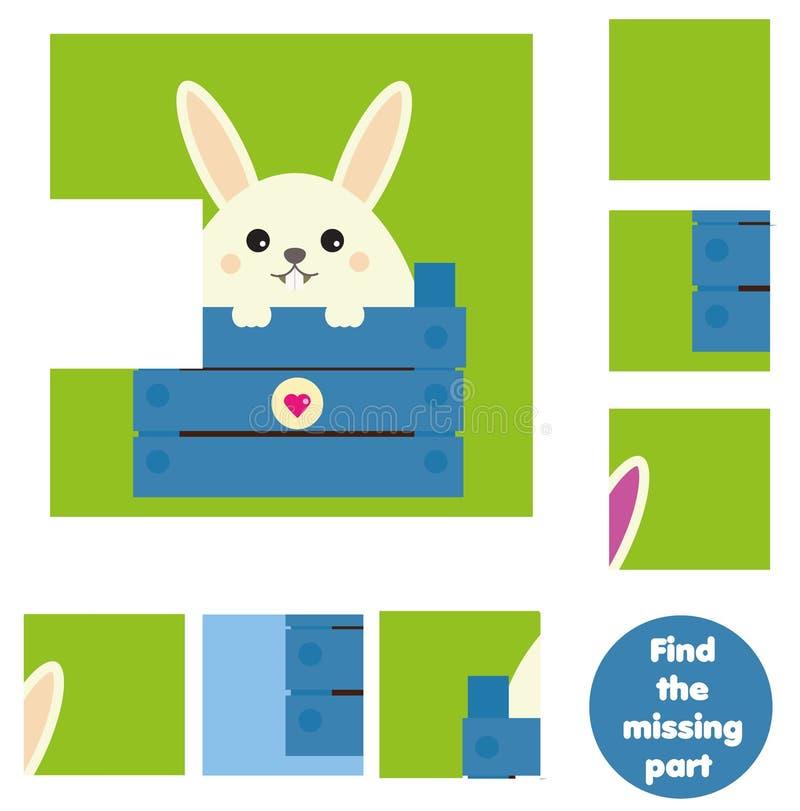 Gioco educativo dei bambini Trovi il pezzo mancante e completi l'immagine Il puzzle scherza l'attività Tema degli animali illustrazione di stock