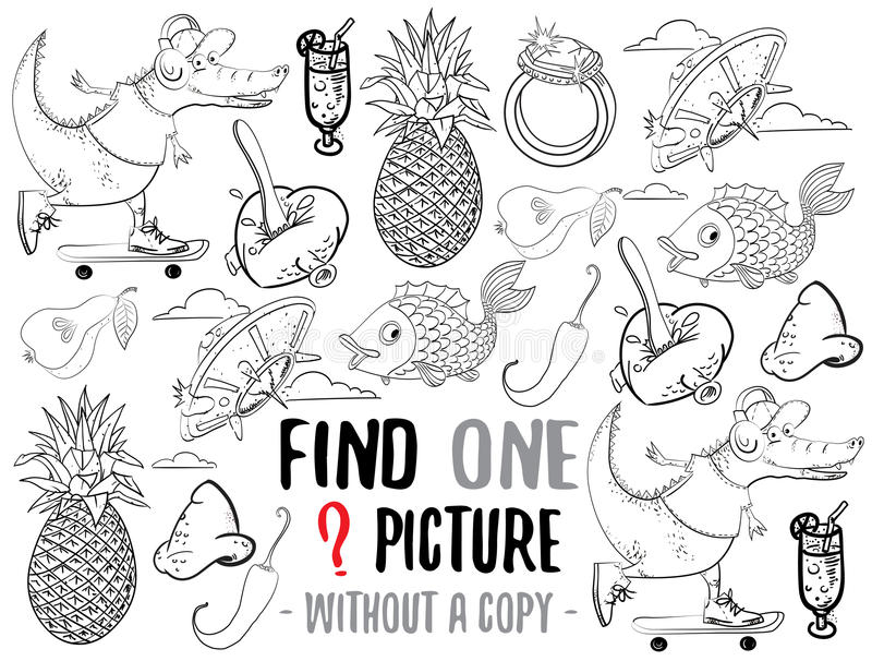 Gioco educativo dell'immagine del ritrovamento uno royalty illustrazione gratis