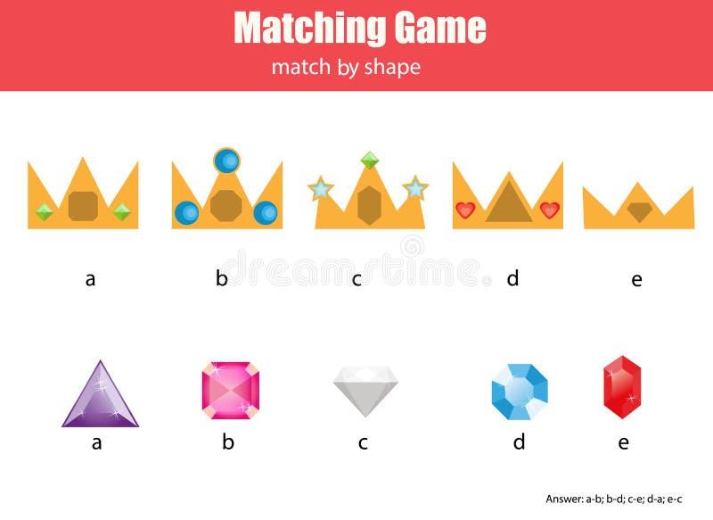 Gioco educativo di corrispondenza dei bambini Abbini le corone ed i diamanti, imparanti l'attività geometrica dei bambini di form illustrazione di stock