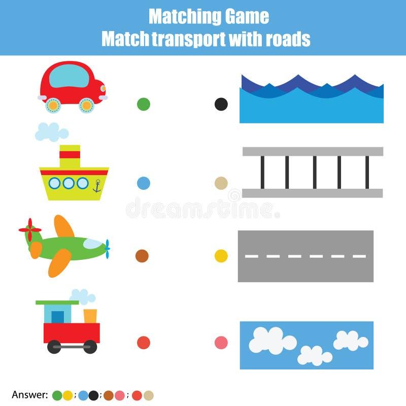 Gioco educativo di corrispondenza dei bambini, attività dei bambini Trasporto della partita con le strade royalty illustrazione gratis