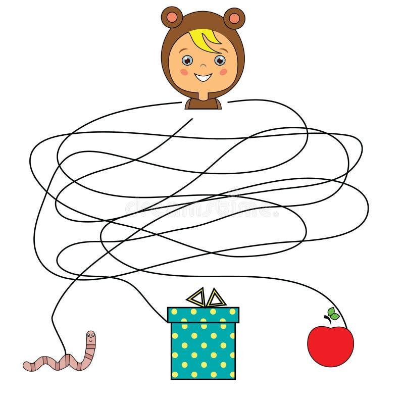 Gioco educativo di corrispondenza dei bambini Bambino della partita con il actvity del labirinto dell'oggetto illustrazione di stock