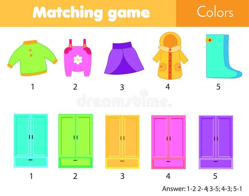 Gioco educativo di corrispondenza dei bambini Partita da colore Vestiti messi nel guardaroba Impari i colori per i bambini ed i b illustrazione vettoriale