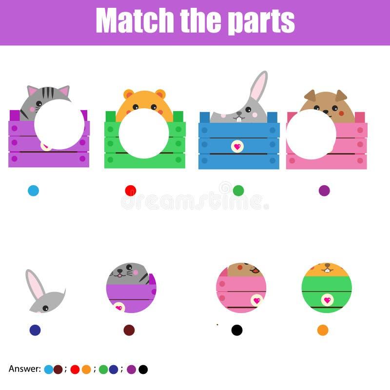 Gioco educativo di corrispondenza dei bambini Scherza l'attività Parti degli animali della partita illustrazione di stock