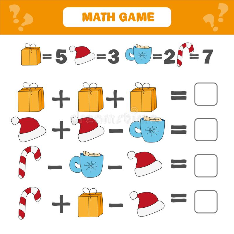 Gioco educativo di matematica per i bambini Conteggio del foglio di lavoro di equazioni illustrazione di stock