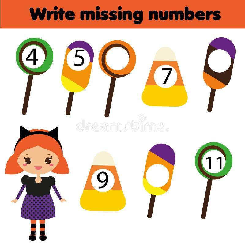 Gioco educativo di matematica per i bambini Scriva i numeri mancanti Un grande Web di ragno prima di una luna luminosa bizzarra illustrazione vettoriale