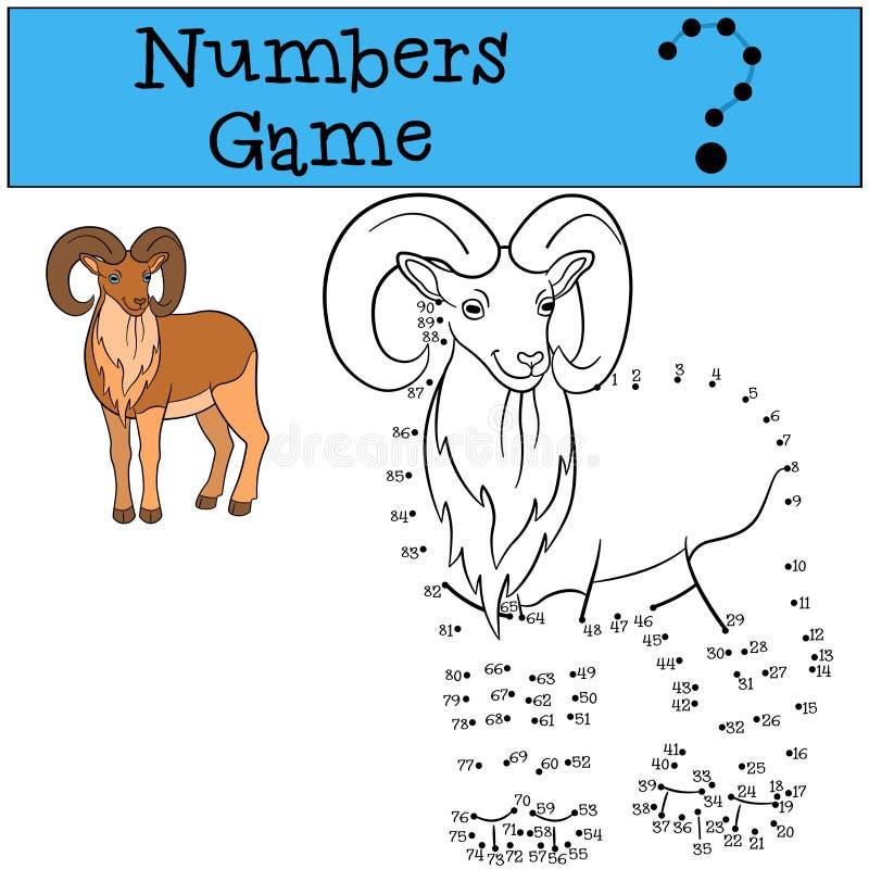 Gioco educativo: Gioco di numeri Bello urial con i grandi corni illustrazione di stock