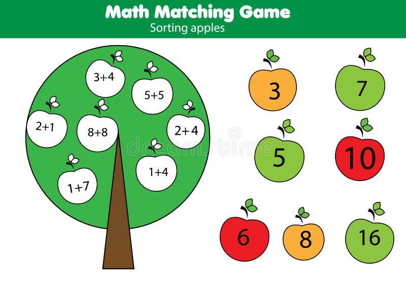 Gioco educativo di per la matematica per i bambini Attività di corrispondenza di matematica Conteggio del gioco per i bambini, ag royalty illustrazione gratis