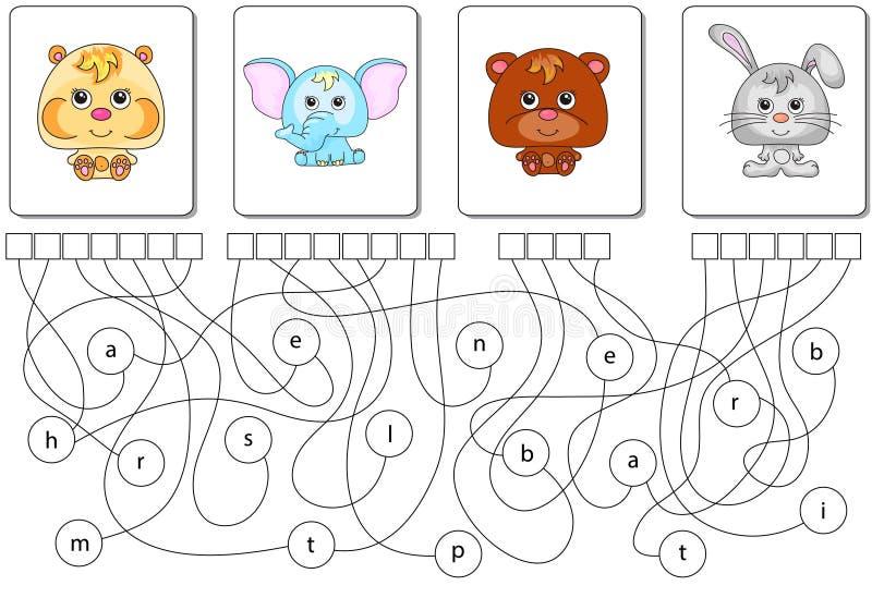 Gioco educativo di puzzle Trovi le parole nascoste illustrazione vettoriale