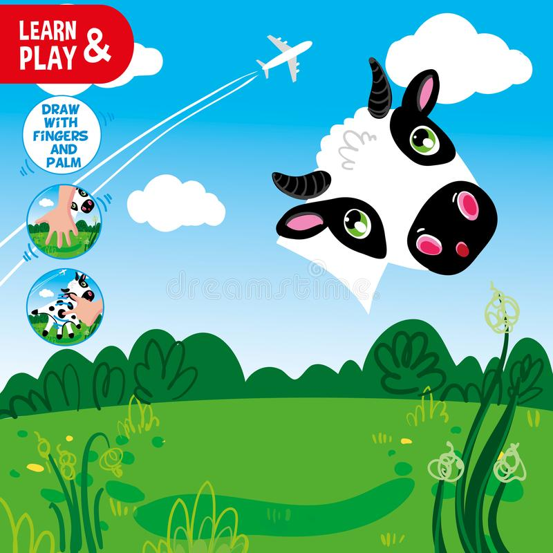 Gioco educativo di sviluppo per i bambini Utilizzi le vostre dita e palma per finire di dipingere la mucca Esamini gli indizi e l illustrazione vettoriale