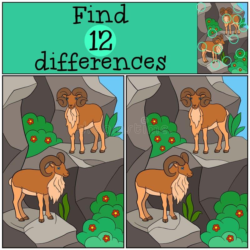 Gioco educativo: Differenze del ritrovamento Due bei urials sulle montagne illustrazione vettoriale