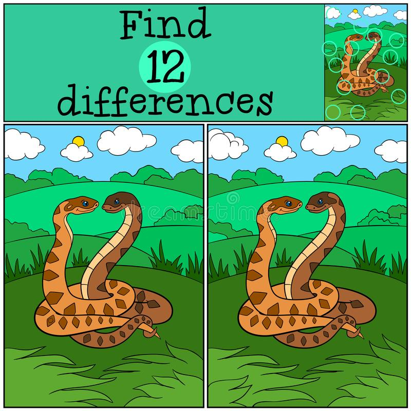 Gioco educativo: Differenze del ritrovamento Due vipere sveglie illustrazione di stock