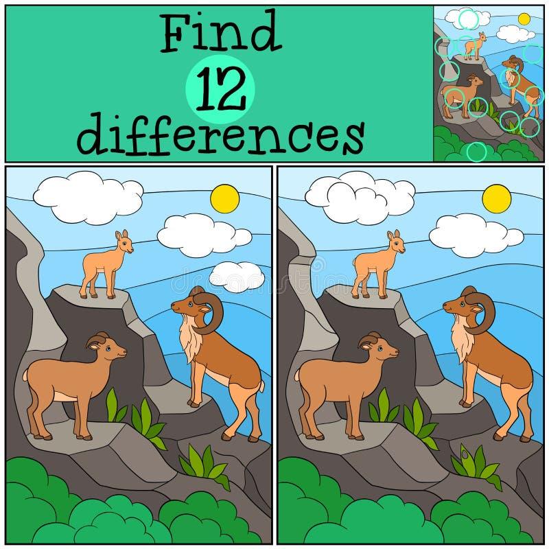 Gioco educativo: Differenze del ritrovamento Madre, padre e bambino urial illustrazione di stock