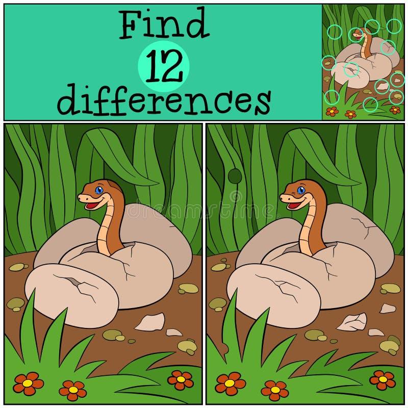 Gioco educativo: Differenze del ritrovamento Vipera del bambino nell'uovo royalty illustrazione gratis