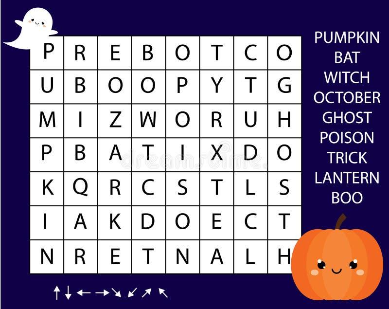 Gioco educativo per i bambini Il puzzle di ricerca di parola scherza l'attività Tema di Halloween che impara vocabolario illustrazione di stock