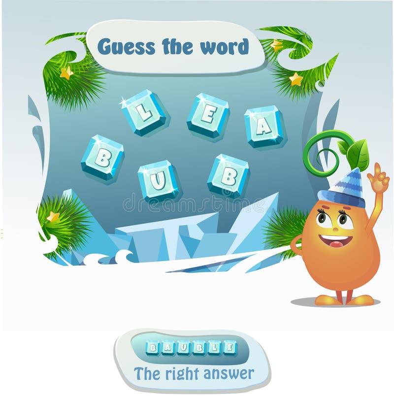 gioco educativo per sviluppo dei bambini di logica, quoziente d'intelligenza Congettura del gioco di compito la parola Bagattella illustrazione di stock