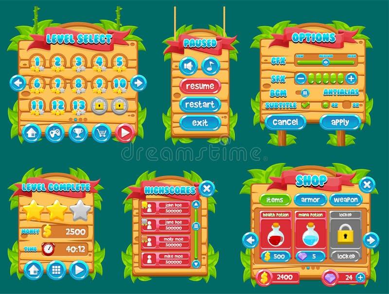 Gioco GUI Set della giungla illustrazione di stock