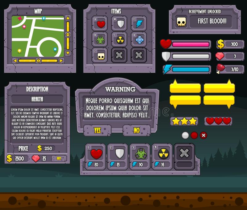 Gioco GUI Set di Halloween royalty illustrazione gratis