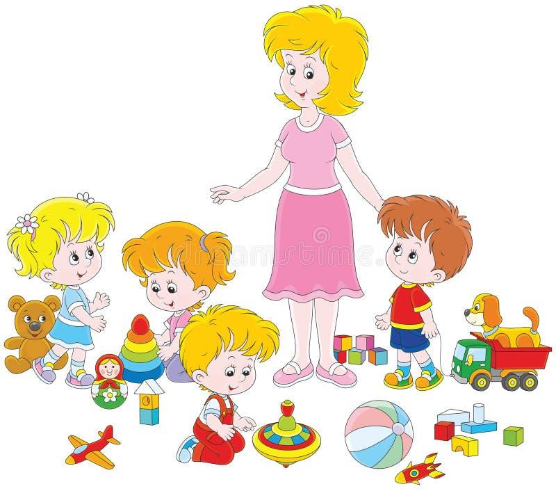 Gioco i bambini e della mæstra d'asilo illustrazione di stock