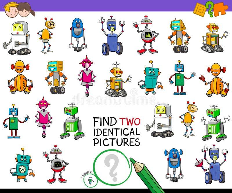 Gioco identico dei robot del ritrovamento due per i bambini illustrazione vettoriale
