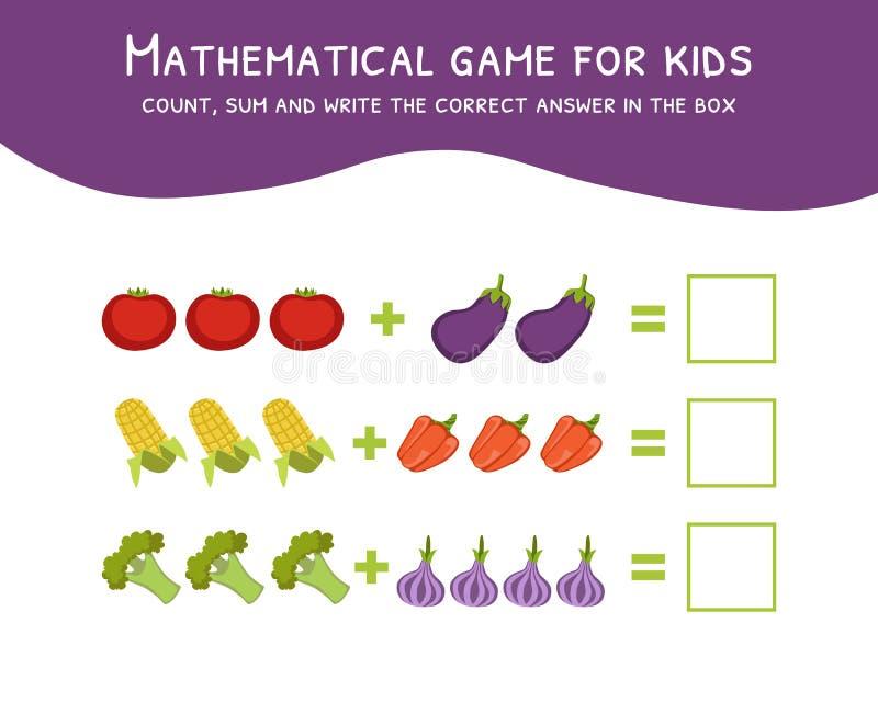 Gioco matematico per i bambini, contare, sommare e scrivere la risposta corretta nell'illustrazione di vettore della scatola illustrazione vettoriale