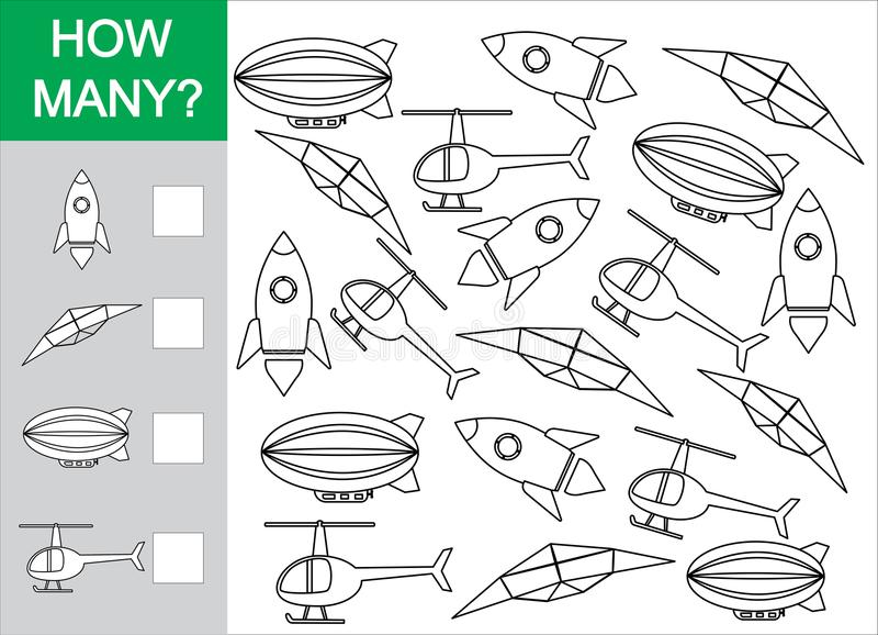 Gioco matematico per i bambini Conti quanti oggetti del trasporto aereo royalty illustrazione gratis