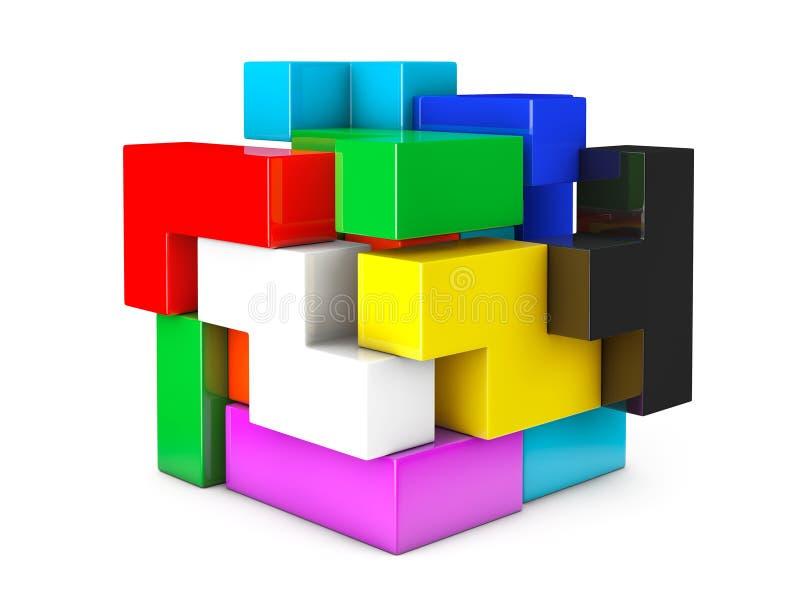 Gioco multicolore del rompicapo del cubo illustrazione vettoriale