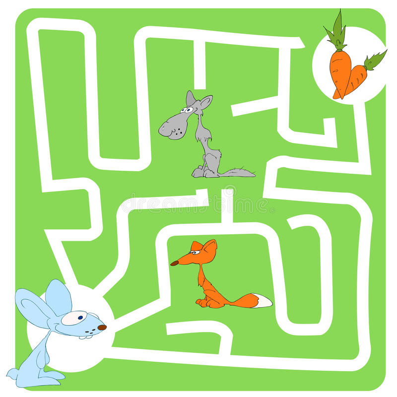 Gioco per i bambini con la lepre e la carota immagine stock