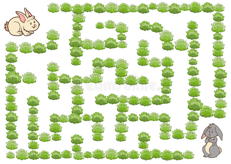 Gioco per i bambini, coniglio del labirinto royalty illustrazione gratis