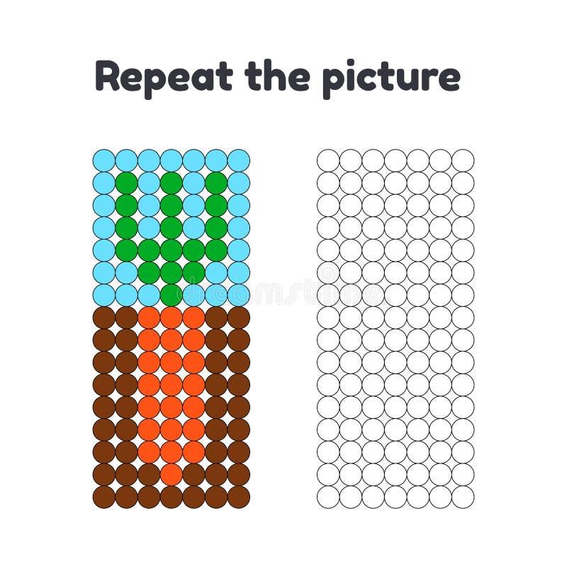 gioco per i bambini in età prescolare Ripeti l'immagine Dipinga i cerchi Carota nel giardino illustrazione di stock
