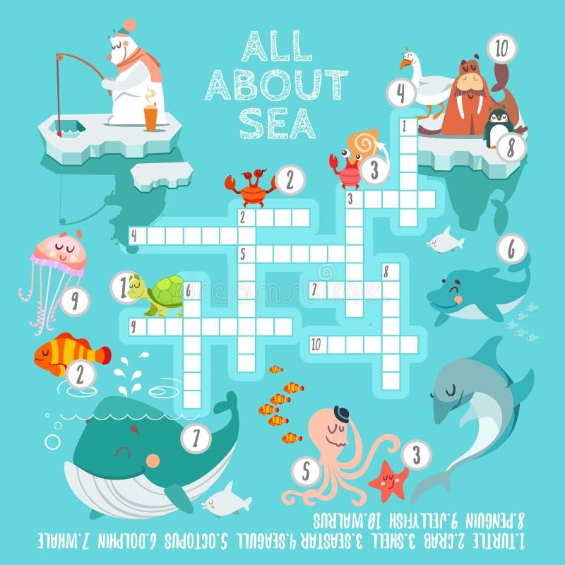 Gioco pronto delle parole incrociate circa le creature del mare illustrazione vettoriale