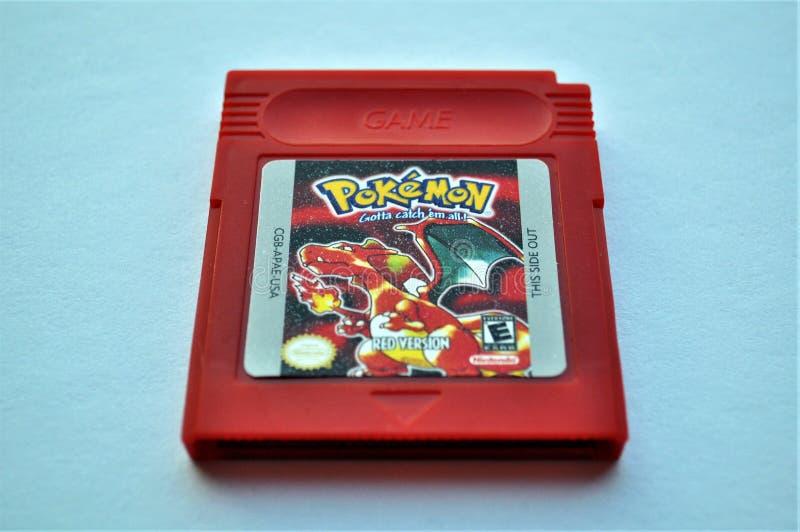 Gioco rosso della cartuccia di Gameboy di Pokemon immagine stock libera da diritti